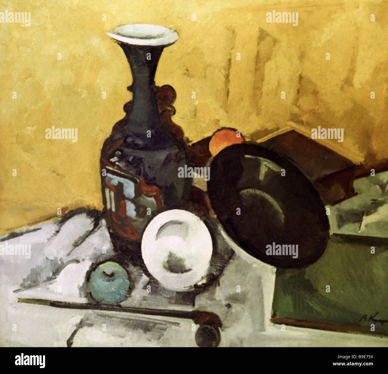 Reproducción de Alexander Kuprin s bodegón con jarrón el Museo Estatal Ruso Imagen De Stock