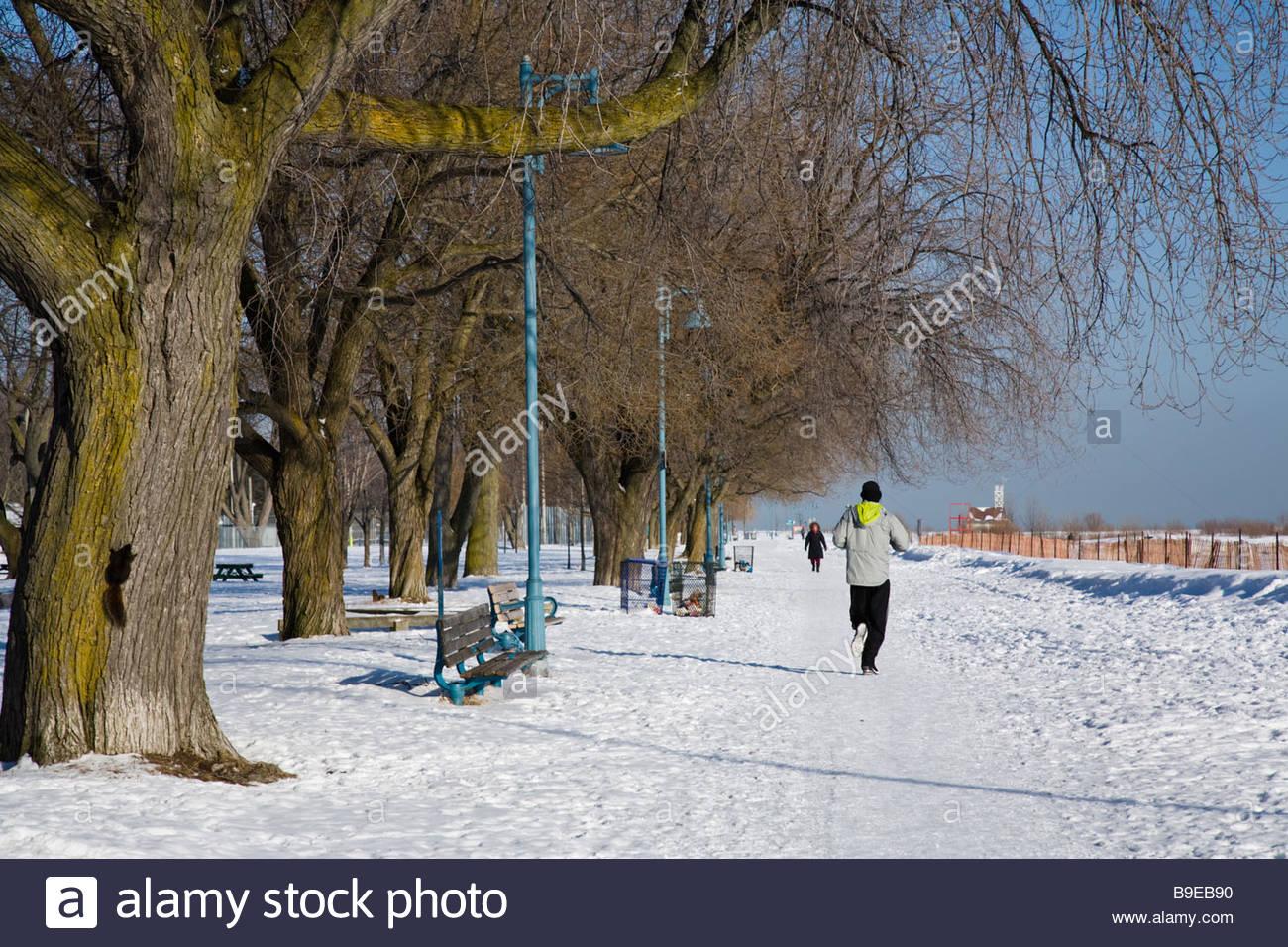 Correr en invierno la nieve cubrió boardwalk en las playas del este parque en Toronto, Ontario, Canadá Imagen De Stock