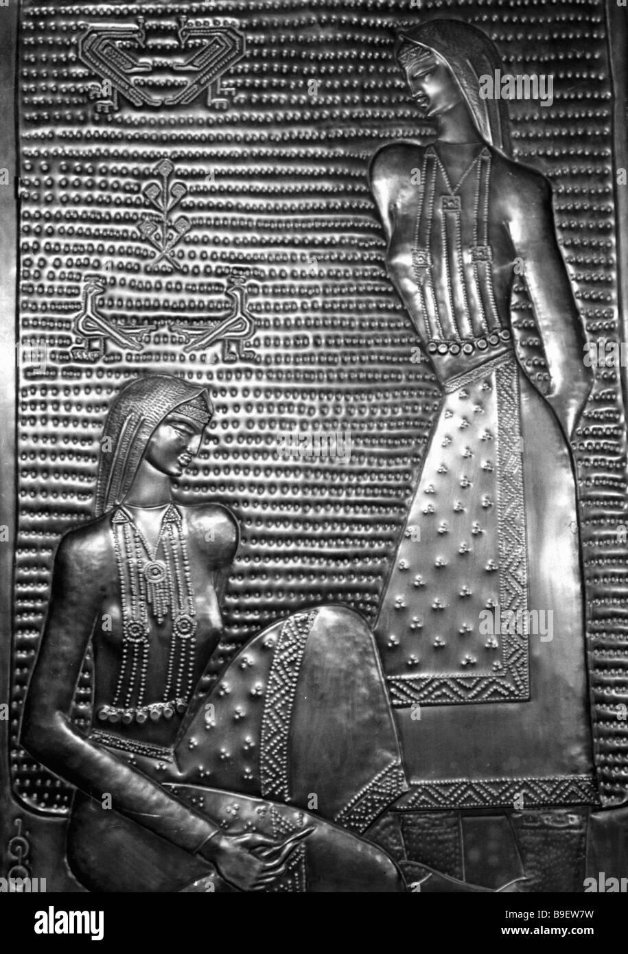 Retrato grabado Tiushan hermanas por artesano Gabiashvili colección de museo de Arte Oriental Foto de stock