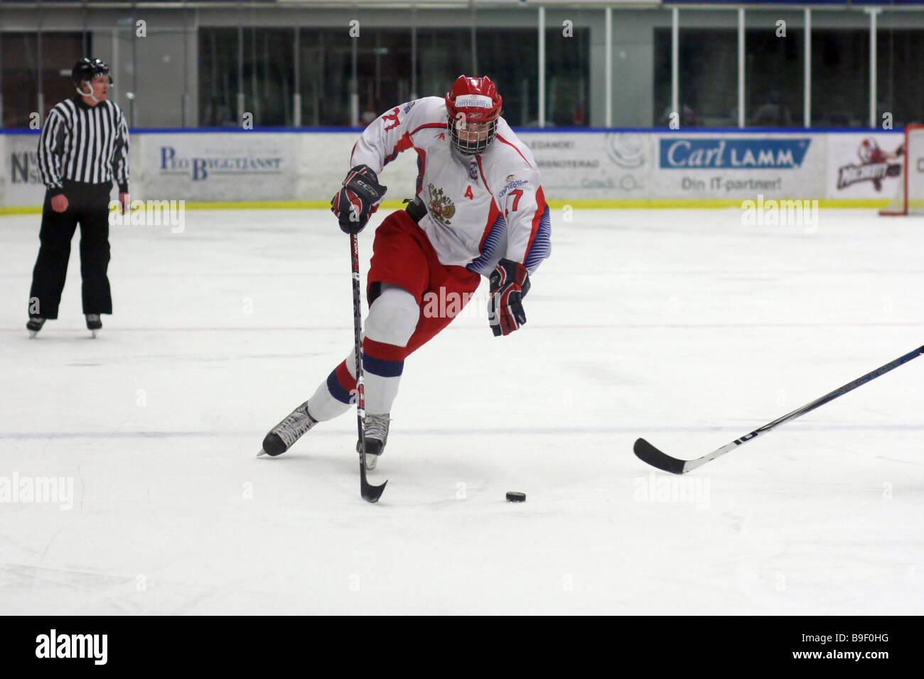 Jugador de hockey sobre hielo de Rusia nº 27 Stanislav Solovyev Imagen De Stock