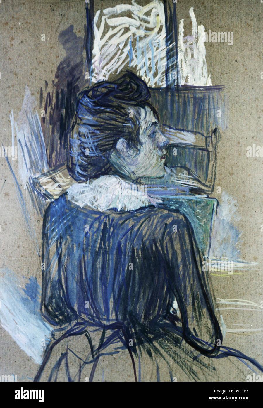 Una mujer por la ventana por Henri de Toulouse Lautrec 1889 Colección de reproducción del Estado Pushkin Museum Foto de stock