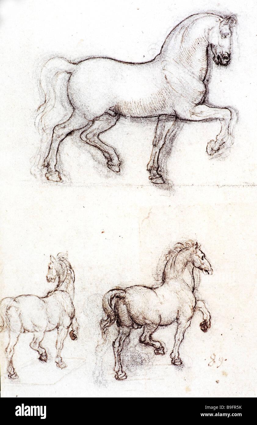 Estudio para el Monumento Trivulzio por Leonardo da Vinci 1508-1511 Imagen De Stock