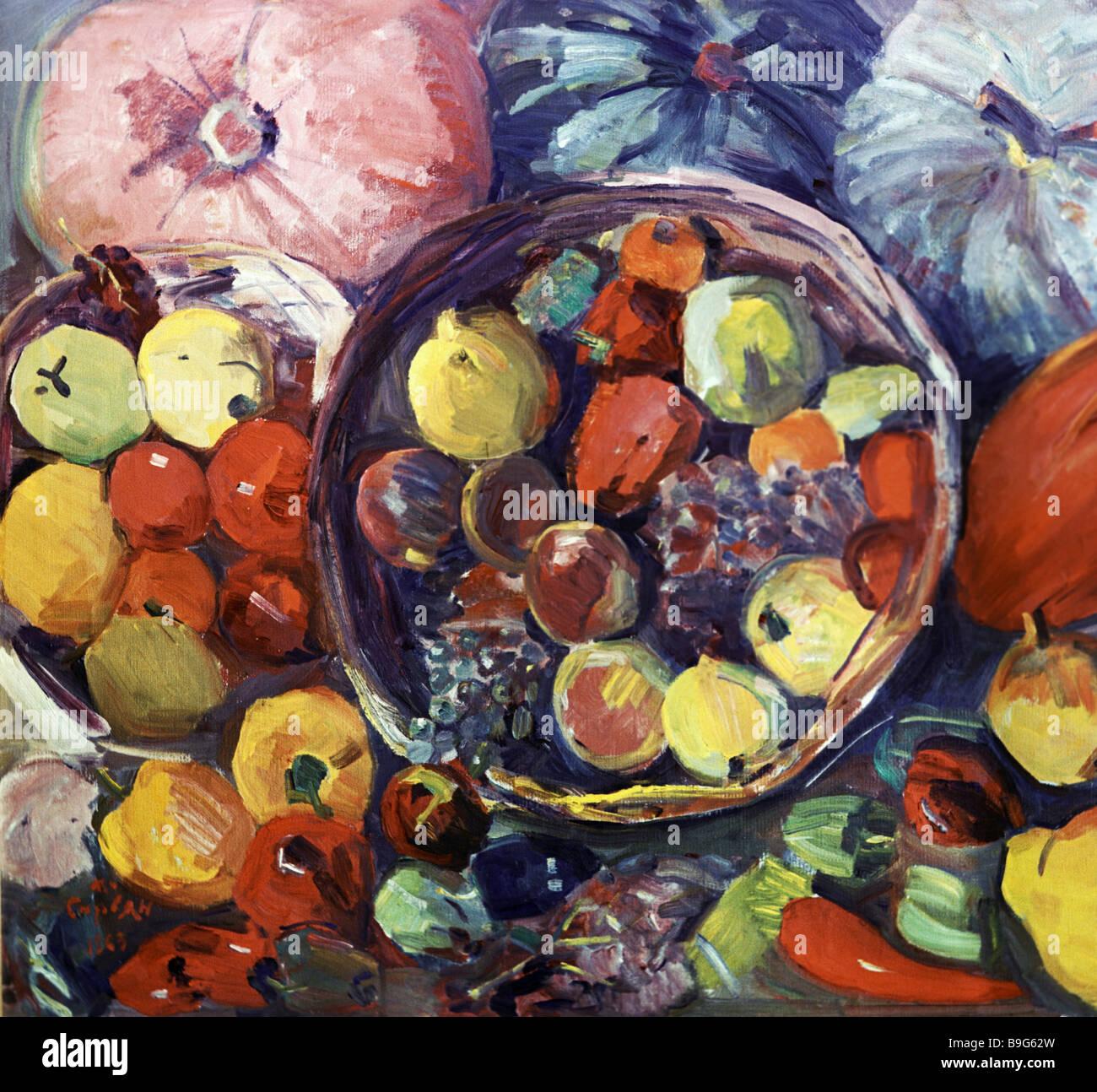 Reproducción de Martiros Saryan s pintura bodegón de otoño desde el museo Martiros Saryan en Yerevan Imagen De Stock