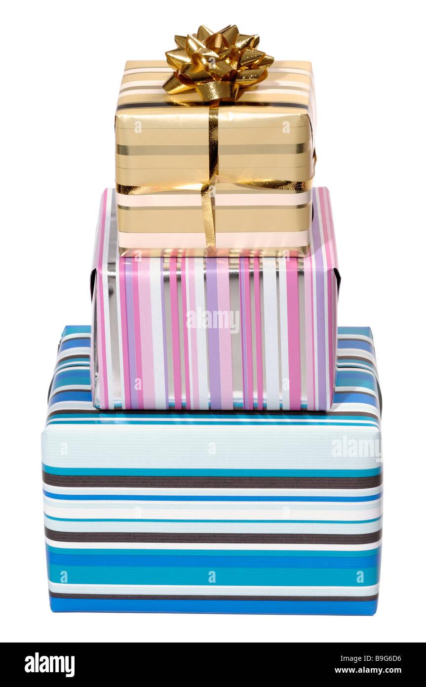 Tres parcelas en envoltorio de regalo Imagen De Stock