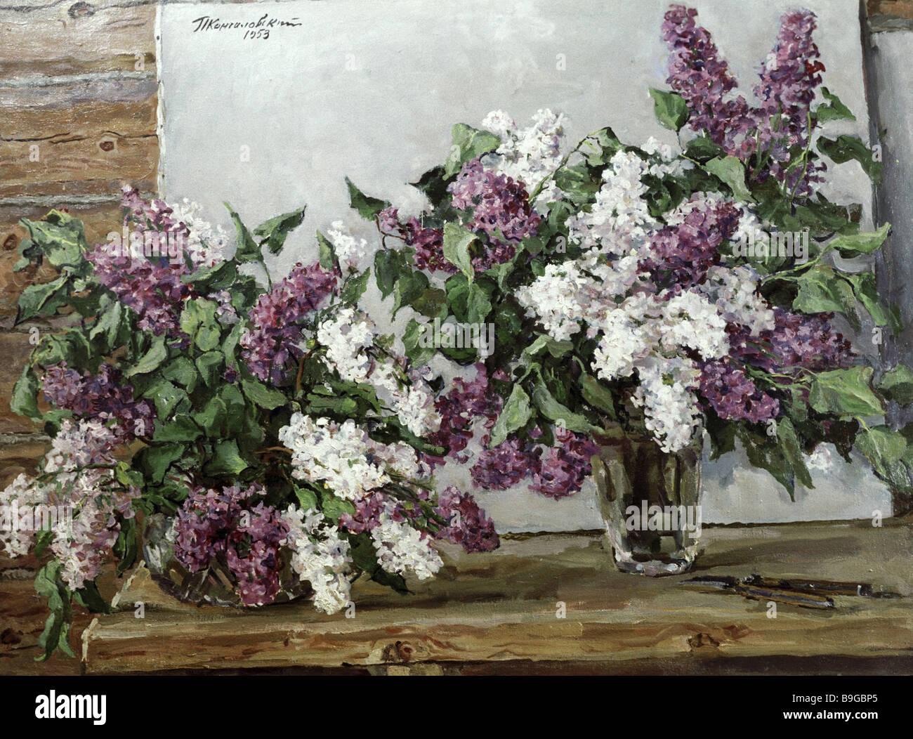 Reproducción de Piotr Konchalovski s bodegón Lila y camilla de lona 1953 Imagen De Stock