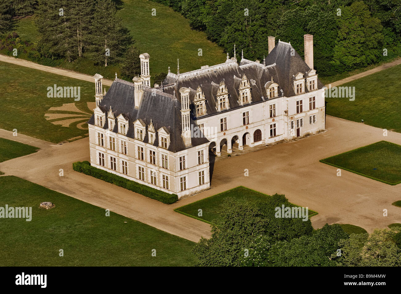 Francia, Loir et Cher, Cellettes, Chateau de Beauregard (vista aérea) Imagen De Stock