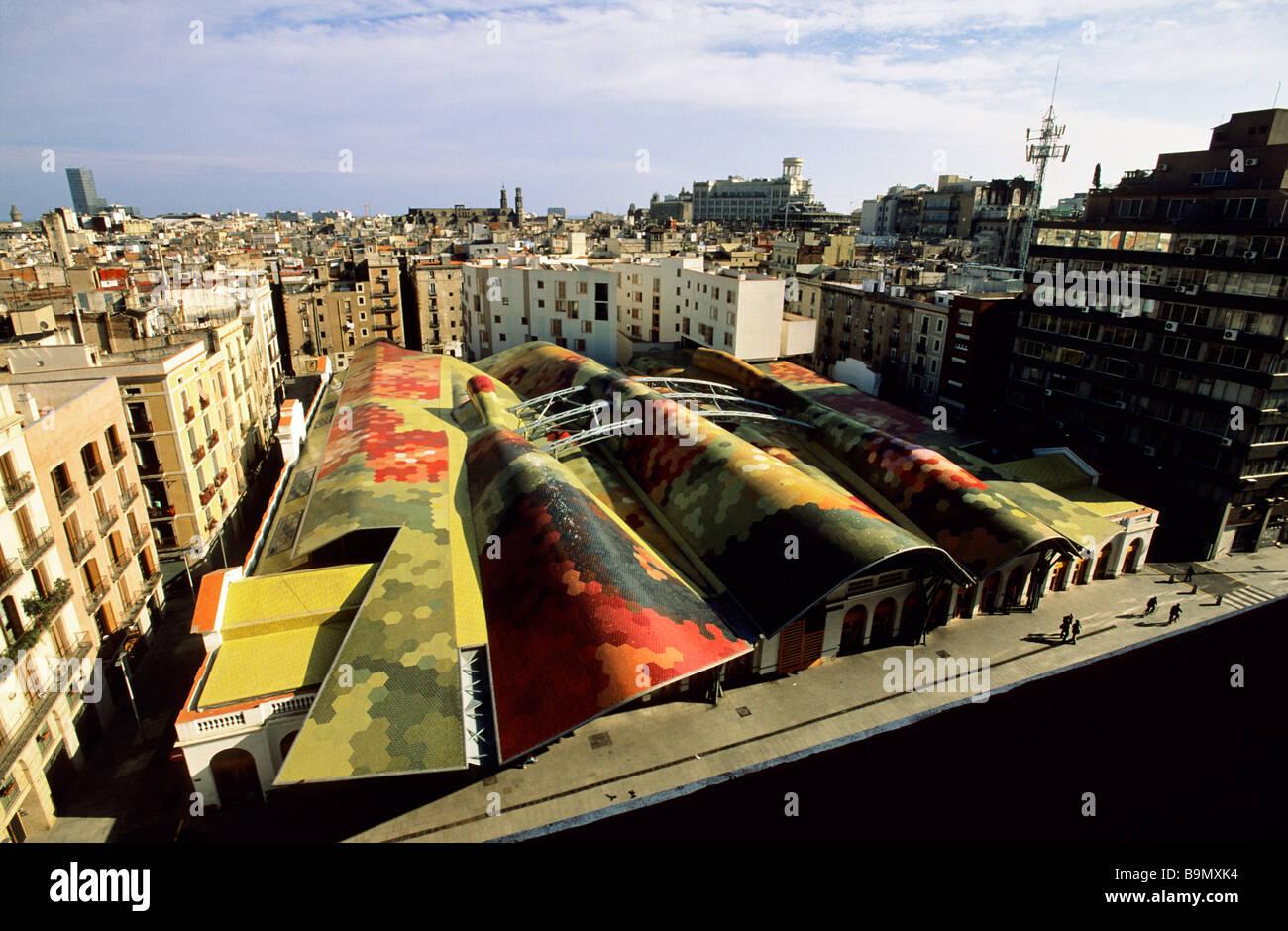 España, Cataluña, Barcelona, el mercado de Santa Caterina por el arquitecto Enric Miralles Benedetta Tagliabue Imagen De Stock