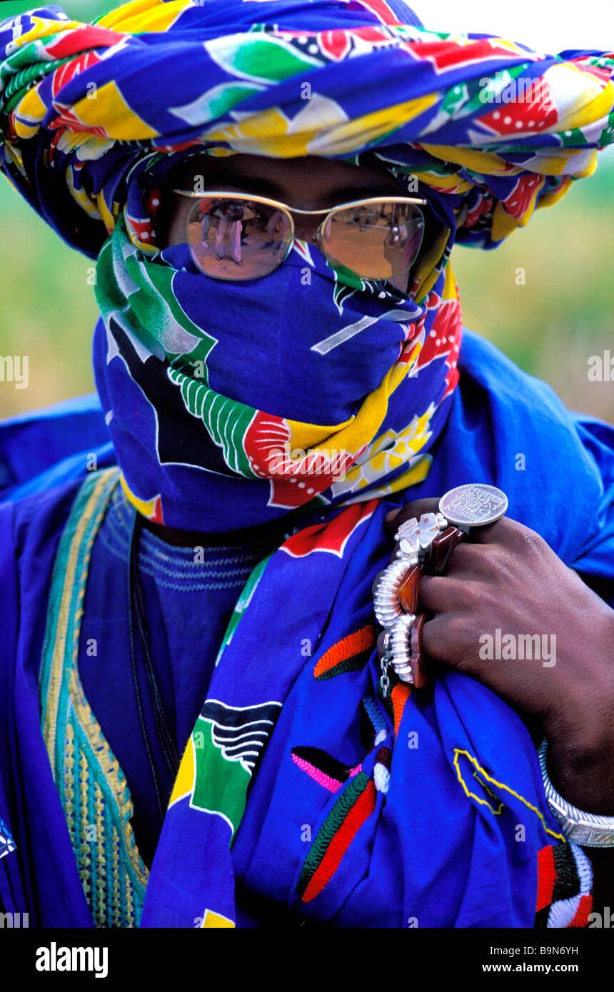 Malí, región de Mopti, Sofara, Fula pastor Foto de stock