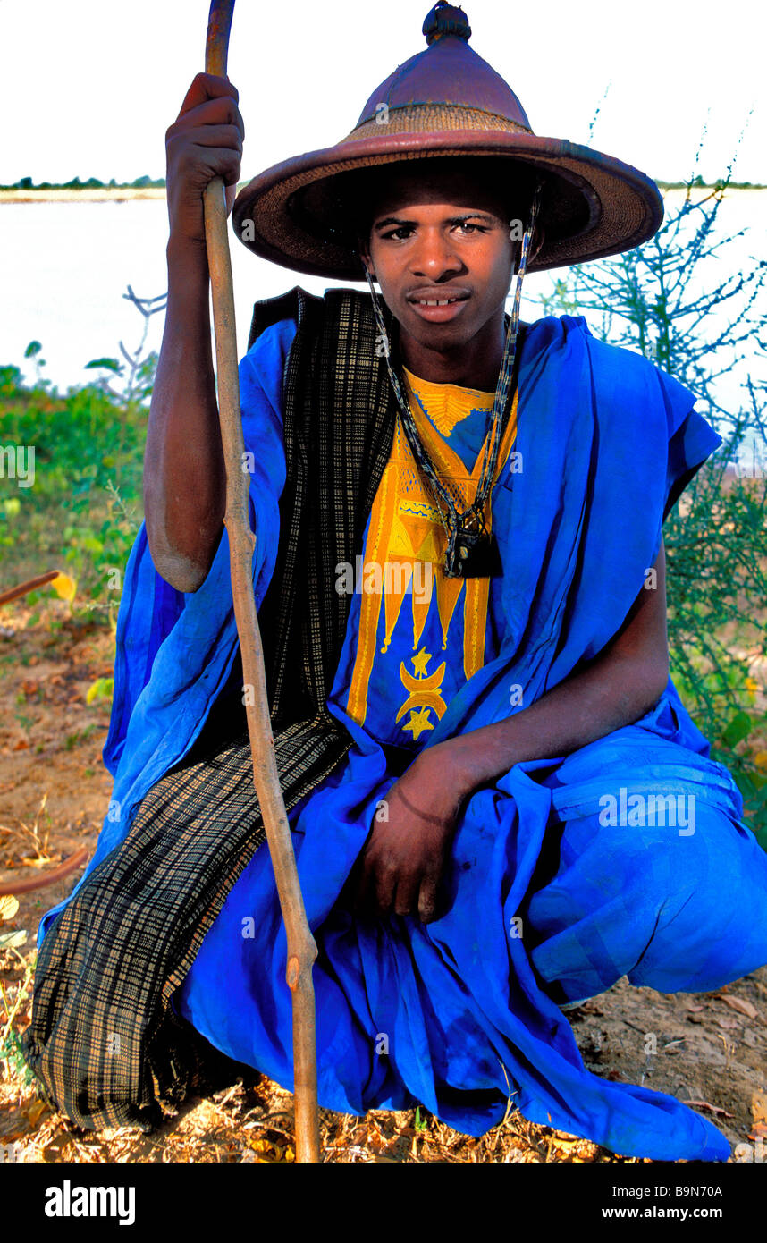 Malí, región de Mopti, Sofara, Ueaa pastor Foto de stock
