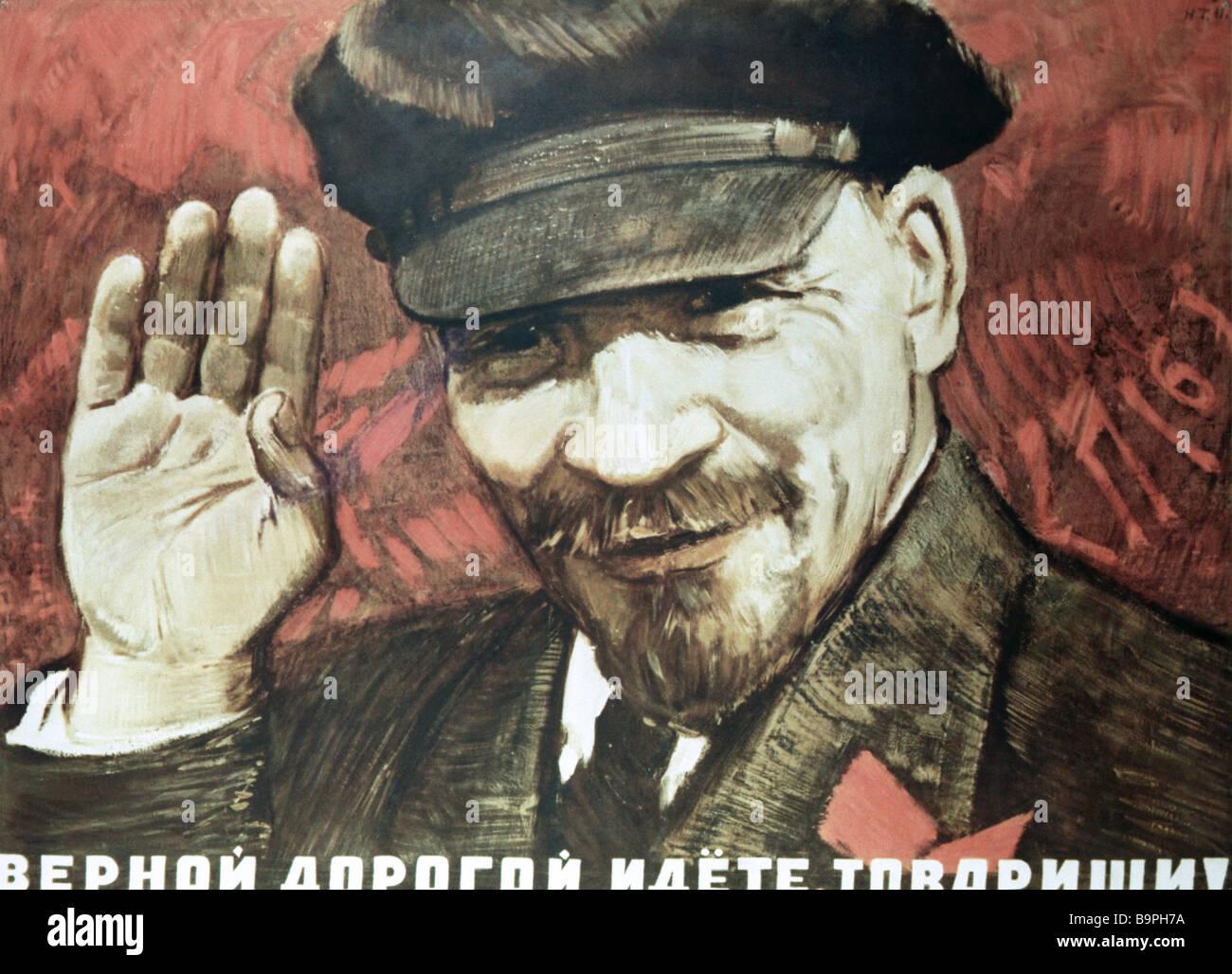 Cartel camaradas que están yendo por el camino correcto por N Tereshchenko Imagen De Stock