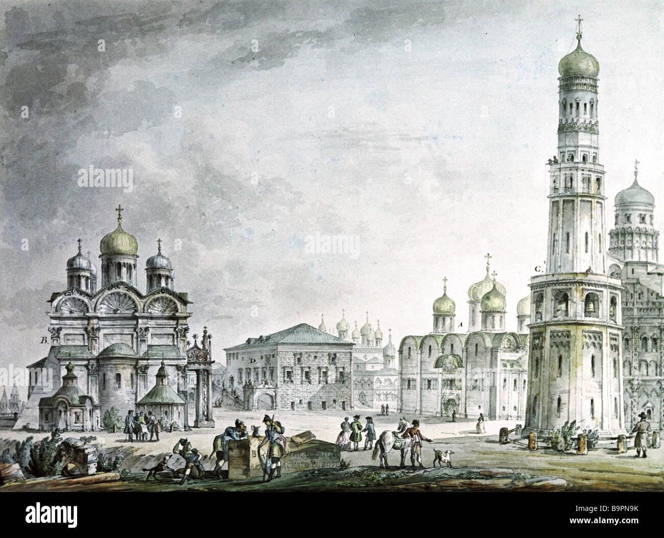 Reproducción de la acuarela de la Plaza del Palacio del Kremlin por Giacomo Quarenghi 1744 1817 el Museo del Imagen De Stock
