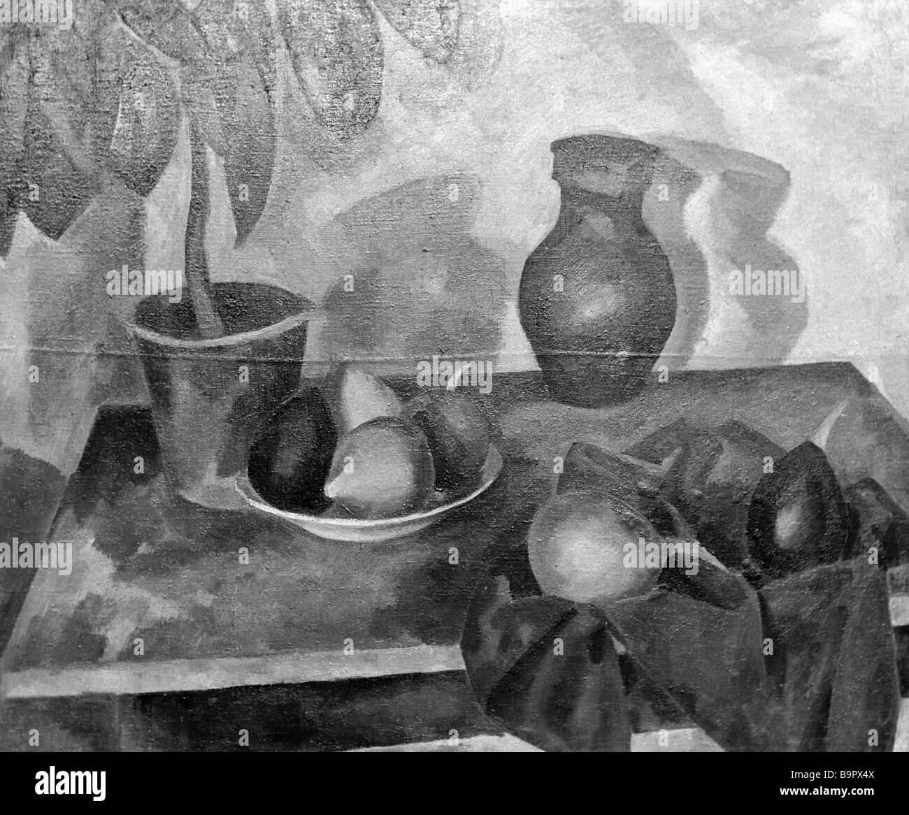 Robert Falk s reproduce bodegón con la planta de caucho Imagen De Stock