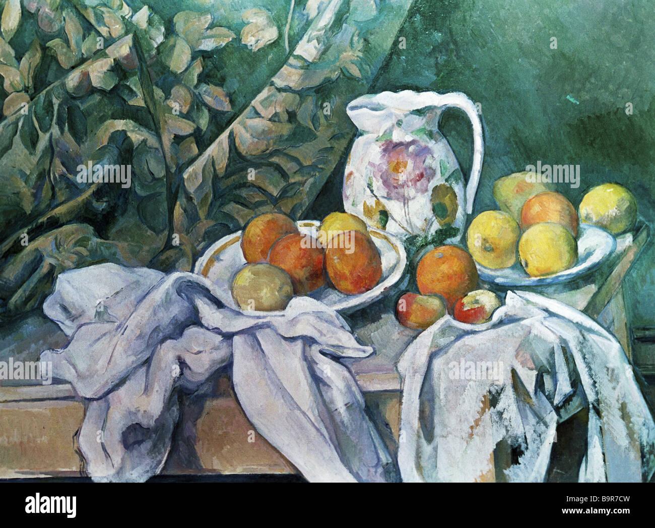 Paul Cezanne bodegón con cortinas Museo Estatal del Hermitage de San Petersburgo Imagen De Stock