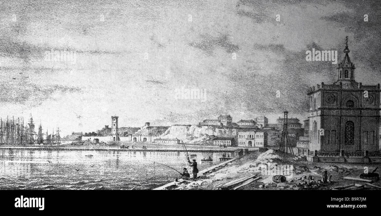 Odessa terraplén del siglo XIX, la reproducción de impresión Imagen De Stock