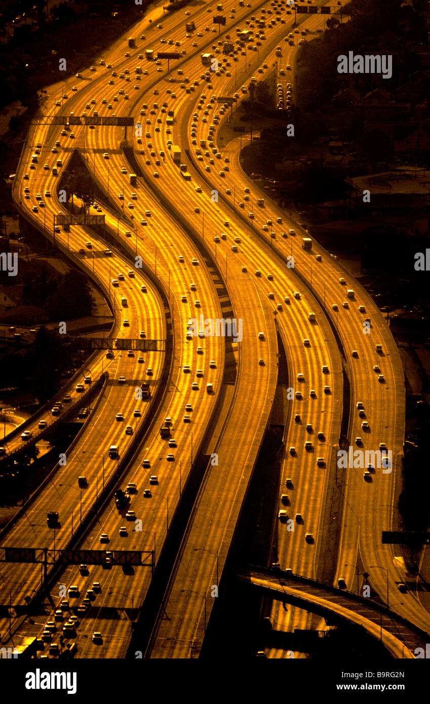 Vista aérea de las autopistas, Los Angeles, California. Foto de stock