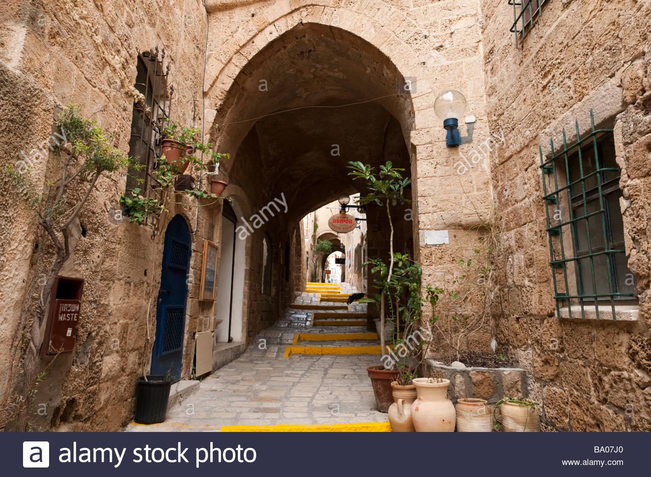 Una antigua calle de Jaffa, Tel Aviv, Israel Imagen De Stock