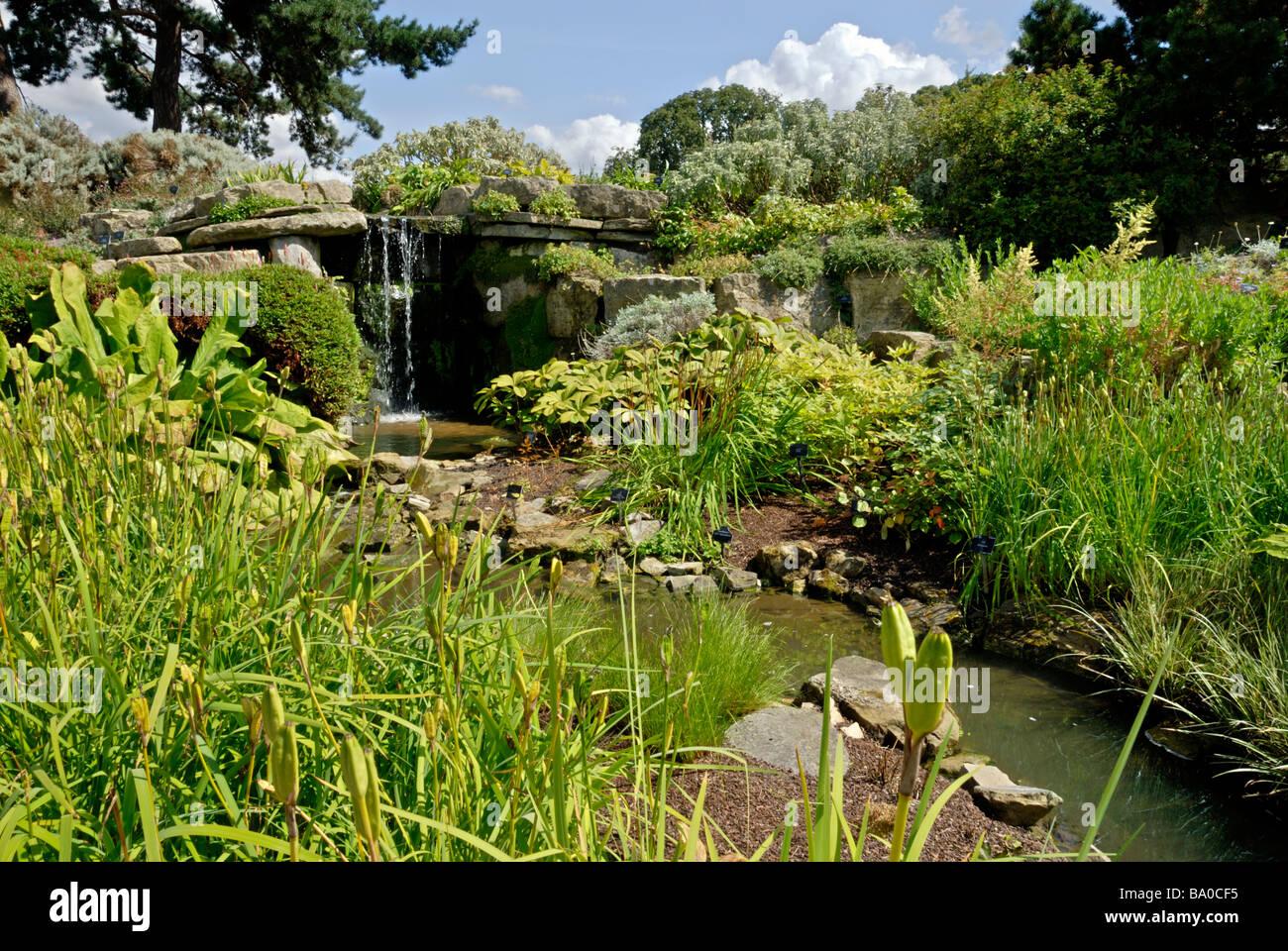 Mini cascada y arroyo en el Real Jardín Botánico de Kew, Londres ...