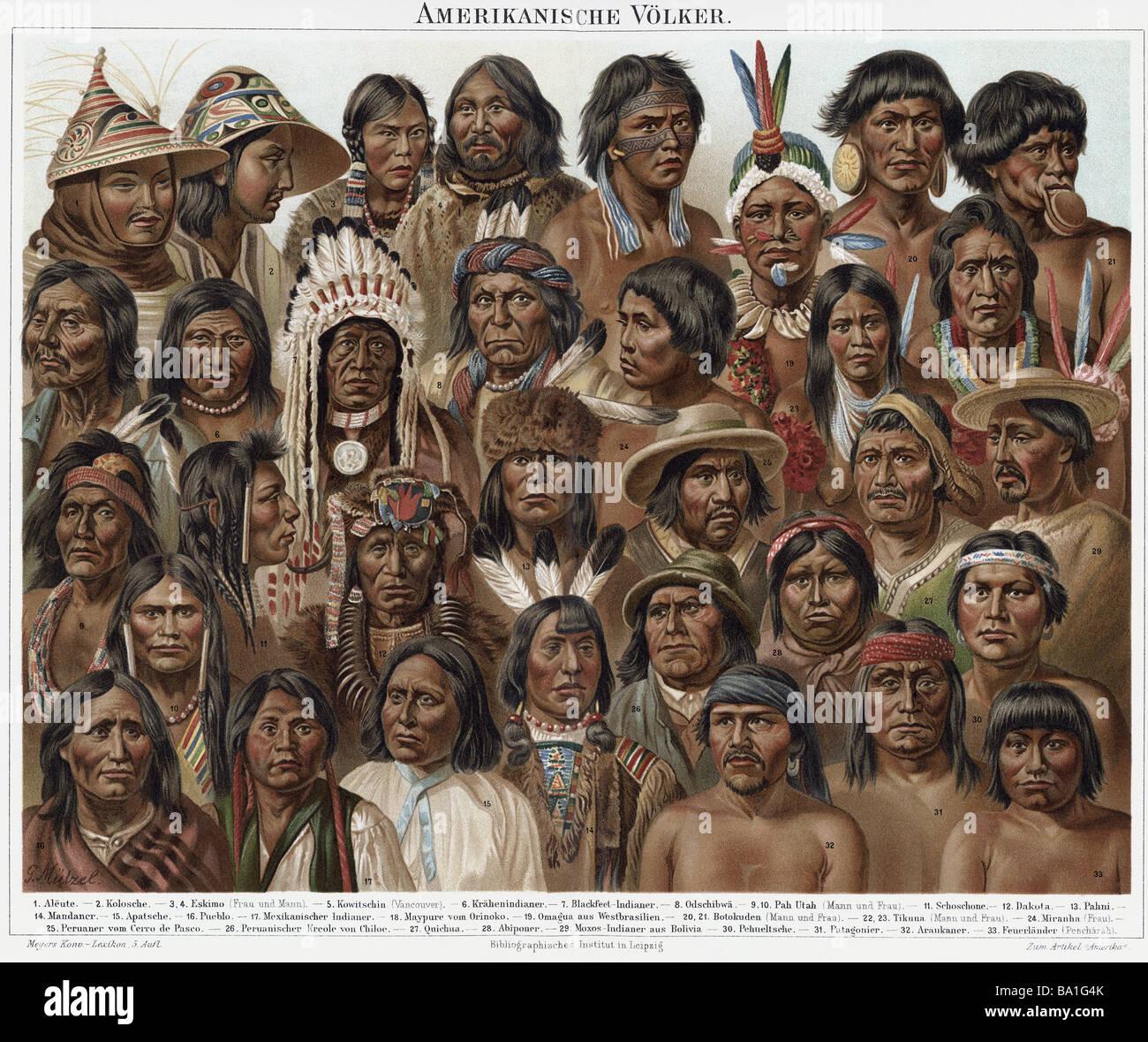 Las personas, etnias, el pueblo americano, color, litografía, Meyers Conversationslexikon, Leipzig y Viena, Imagen De Stock