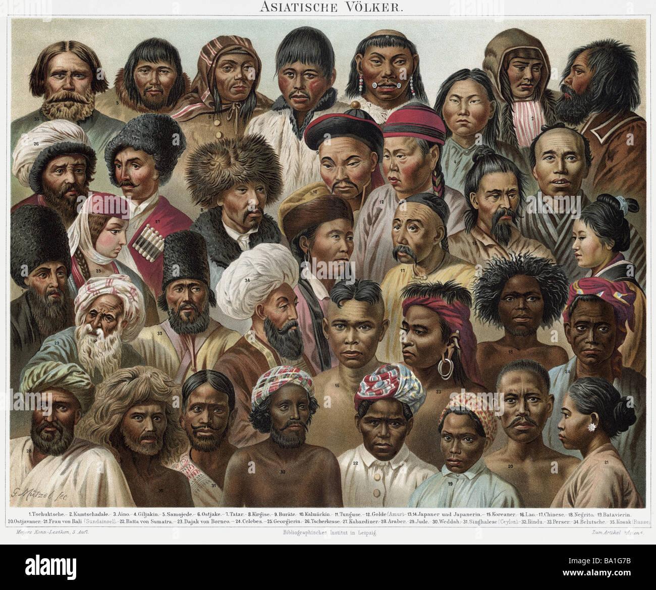 Las personas, etnias, pueblos asiáticos, color, litografía por Gustav Muetzel, Meyers Conversationslexikon, Imagen De Stock