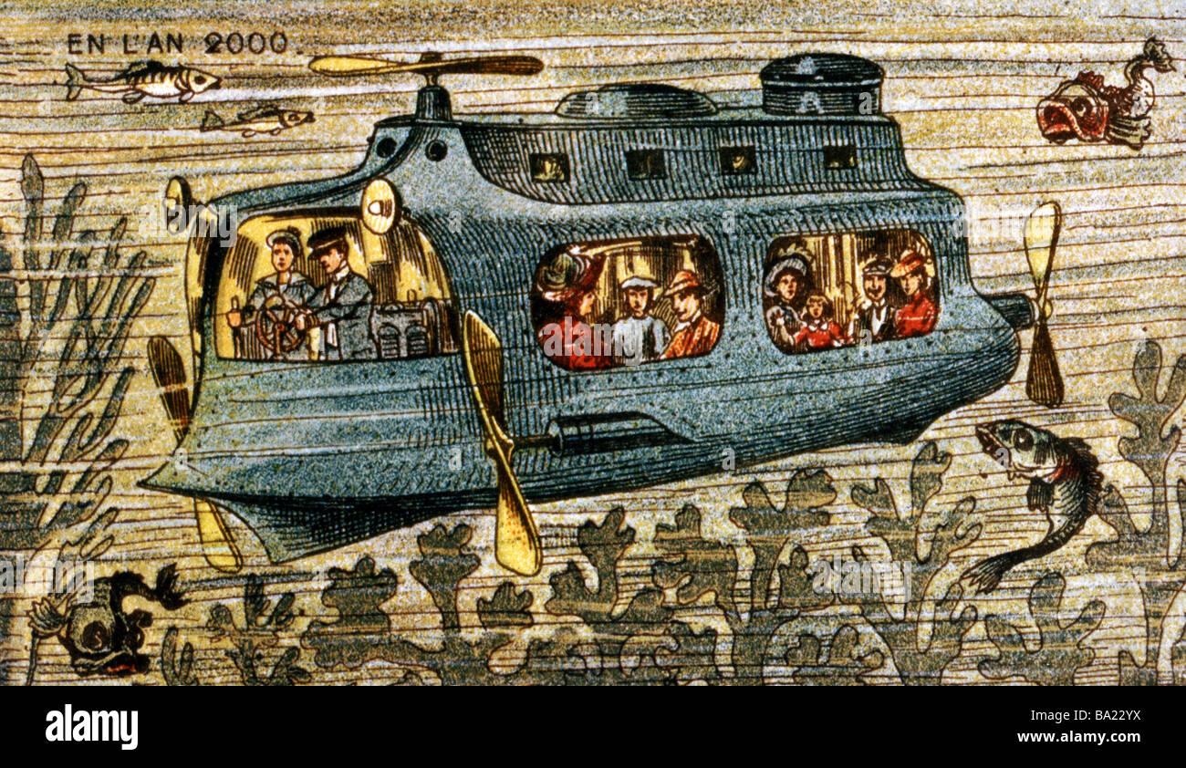 """Visión de futuro, """"En el año 2000, Viaje hacia el mar profundo, color litografía, Francia, 1910, Imagen De Stock"""