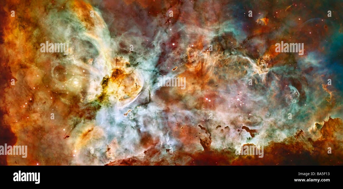 Carina Nebula como fotografiada por el Telescopio Espacial Hubble de la Nasa crédito por favor Imagen De Stock