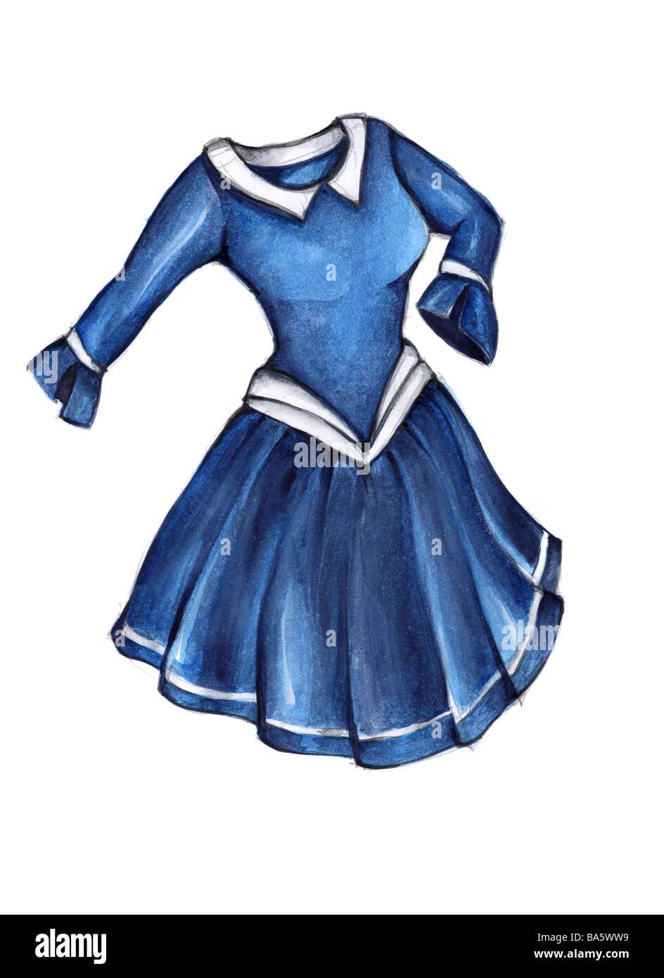 Ilustración Marinero Vestido Dibujo Acuarela Ropa Dama