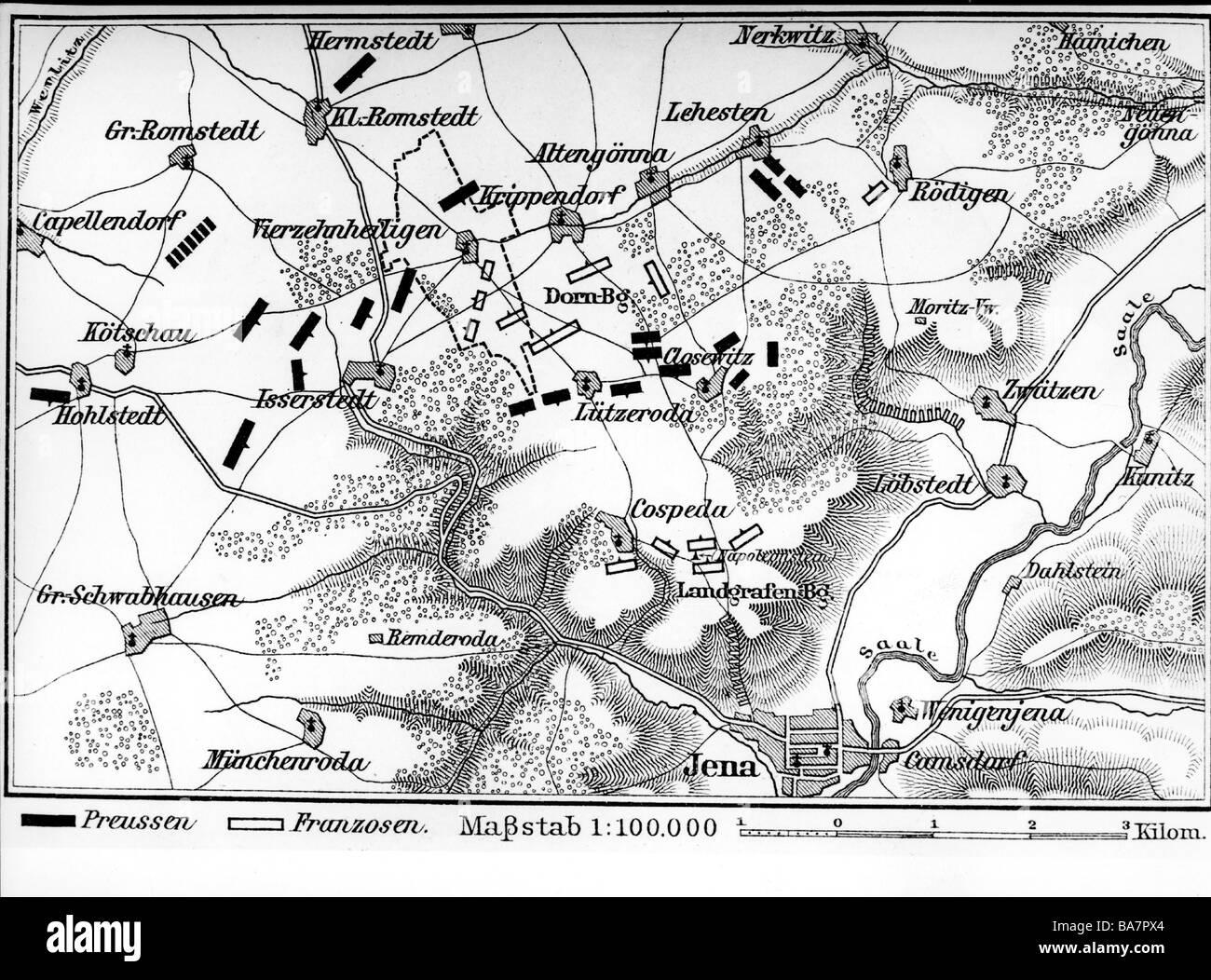 Eventos, War of the Forth Coalition 1806 - 1807, Batalla de Jena 14.10.1806, plan, grabado en madera, siglo 19, guerras napoleónicas, Alemania, Sajonia, mapa, histórico, histórico, cartografía, Foto de stock