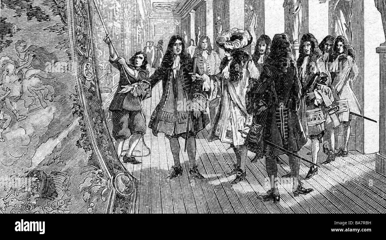 Luis XIV, 5.9.1638 - 1.9.1715, Rey de Francia 1643 - 1715, longitud completa, visitando un fabricante de tapices, grabado de madera, siglo 19, Foto de stock