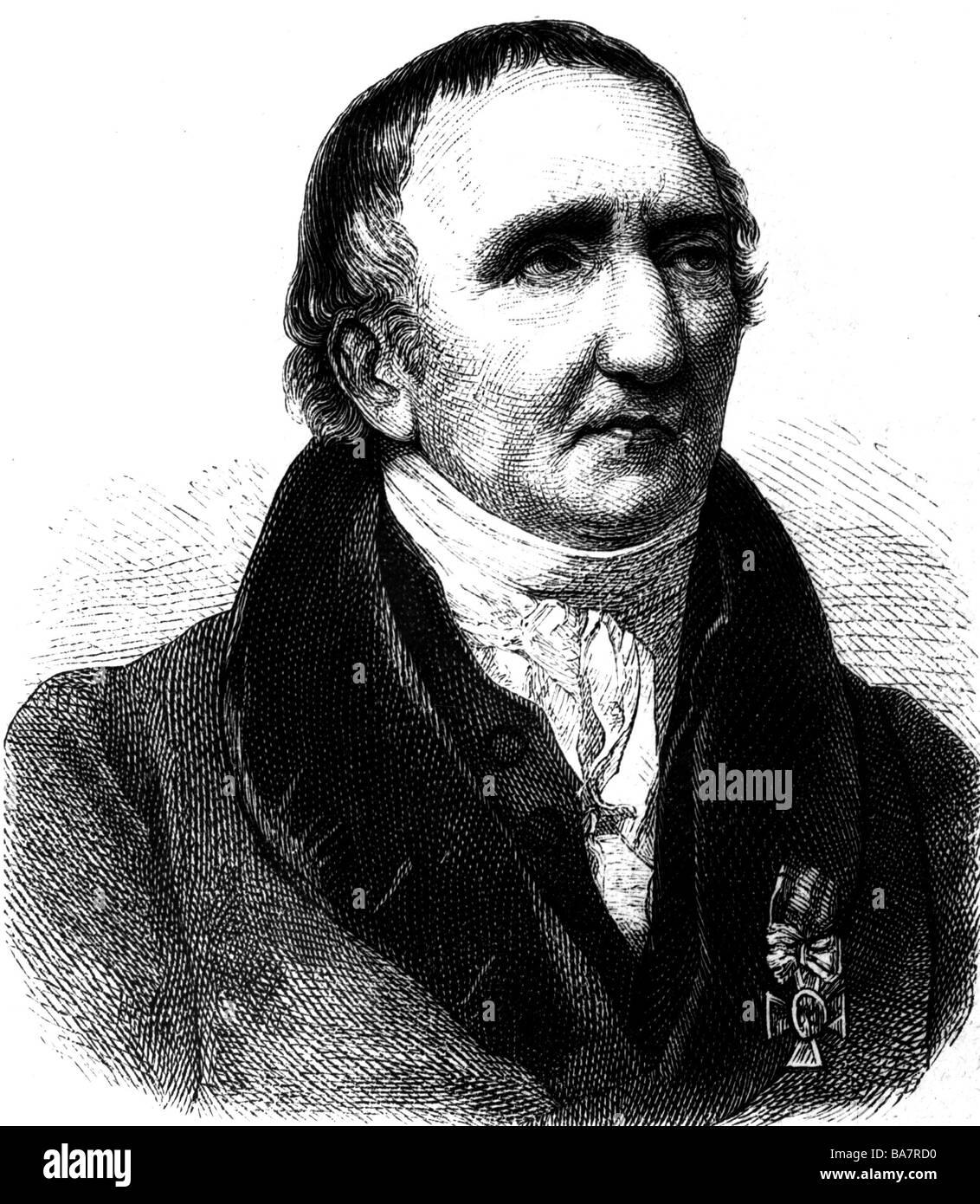 Schadow, Johann Gottfried, 20.5.1764 - 27.1.1850, escultor alemán, retrato, grabado, siglo 19, , Foto de stock