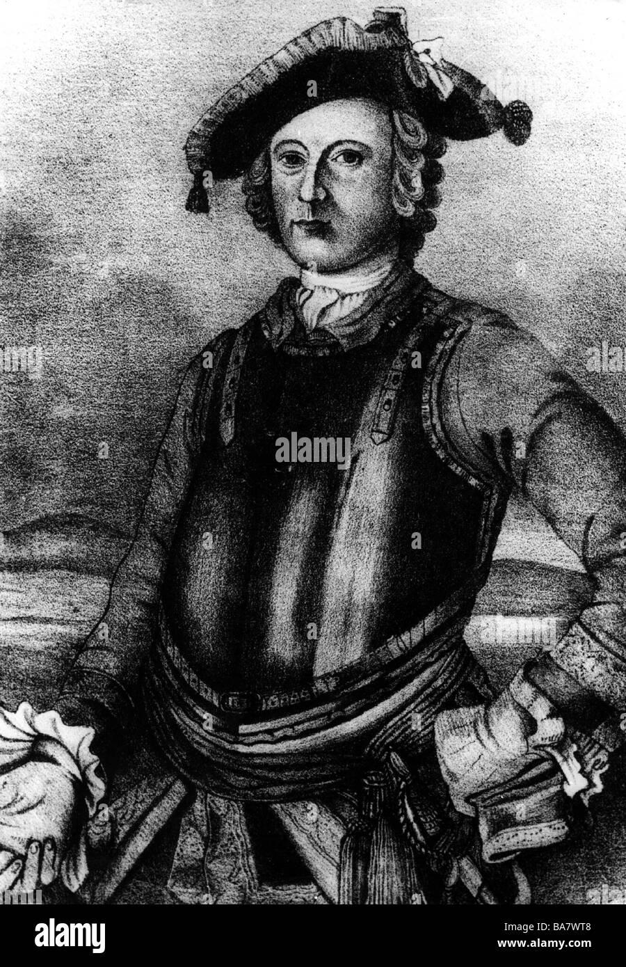 Münchhausen, Barón Karl Friedrich Hieronymus, Freiherr von, 11.5.1720 - 22.2.1797, longitud media, litografía, circa 1870, después de pintar, Foto de stock