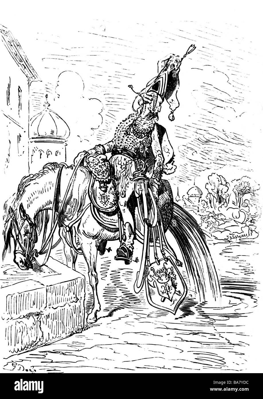 Münchhausen, Barón Karl Friedrich Hieronymus, Freiherr von, 11.5.1720 - 22.2.1797, escena de sus aventuras: Agua corriendo de medio caballo, grabado en madera siglo 19, Munchhausen, Muenchhausen, , Foto de stock