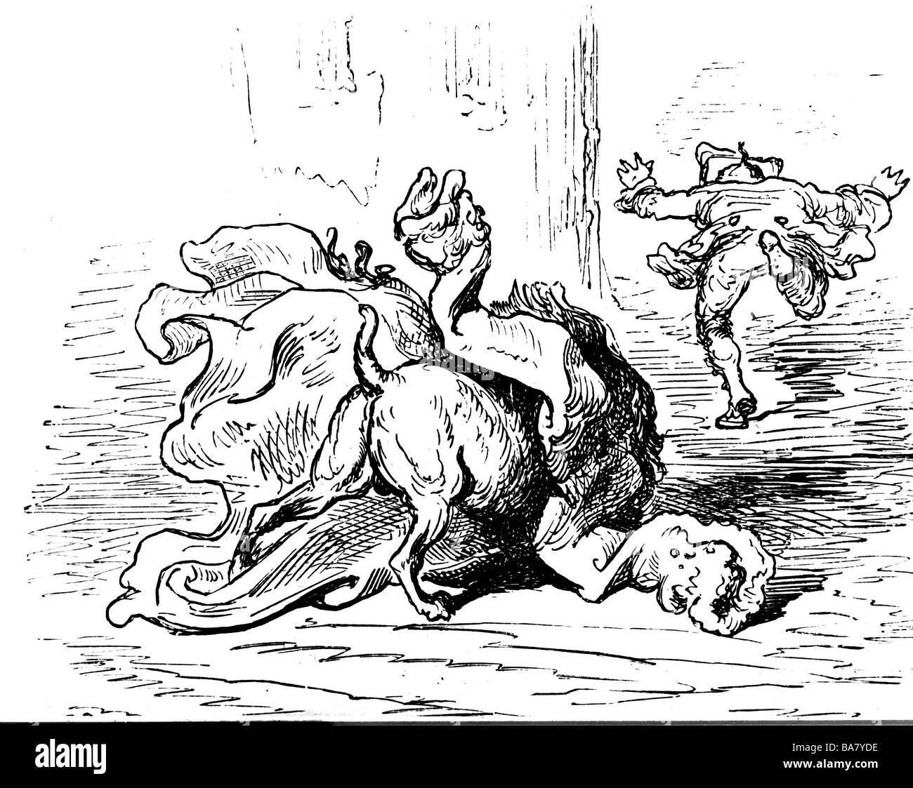 Münchhausen, Barón Karl Friedrich Hieronymus, Freiherr von, 11.5.1720 - 22.2.1797, el trabajo, escena de sus aventuras: Su perro está luchando con su abrigo, grabado en madera siglo 19, Munchhausen, Muenchhausen, , Foto de stock
