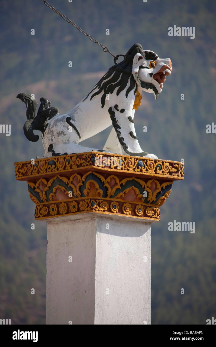 Tigre blanco en el Memorial Chorten templo Tashi Chho Dzong Thimphu Bhután día soleado destino turístico,90921 Imagen De Stock