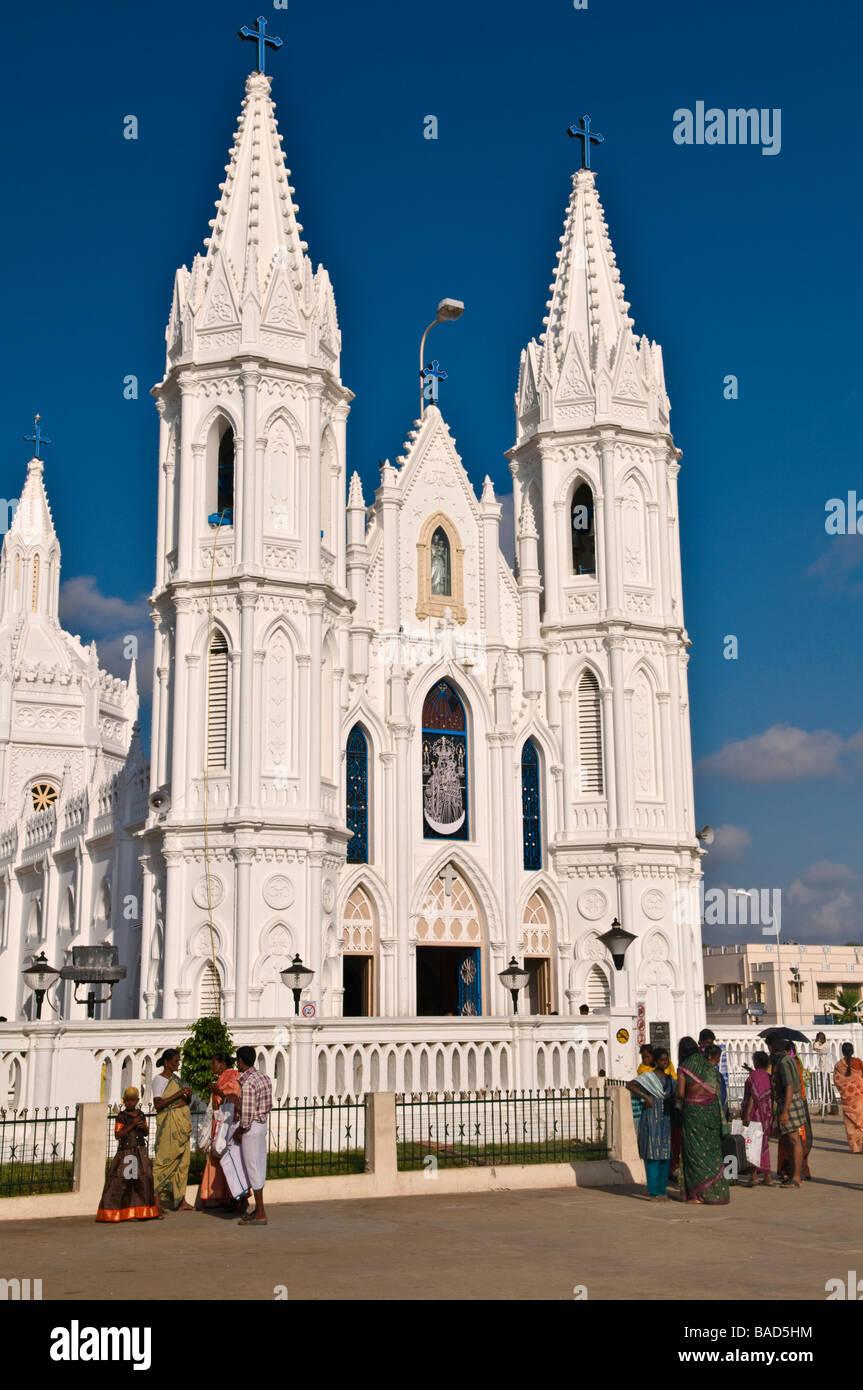 Santuario Basílica de Nuestra Señora de Velankanni buena salud de Tamil Nadu, India Foto de stock