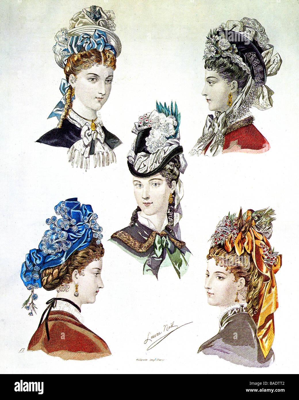 Estilos de sombrero de París en el siglo XIX. Imagen De Stock