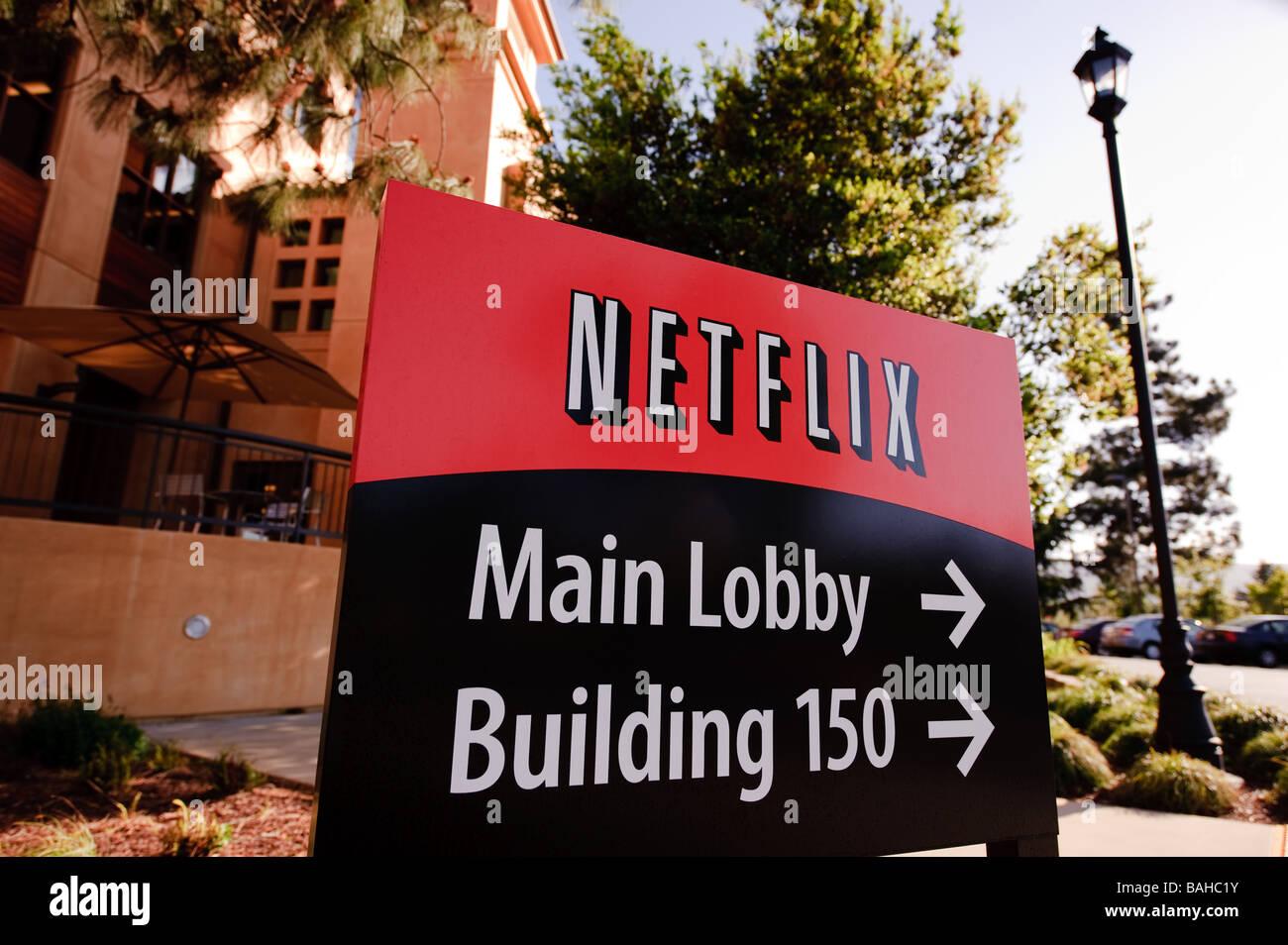 La sede de Netflix Inc en Winchester Blvd en San José, California. Imagen De Stock