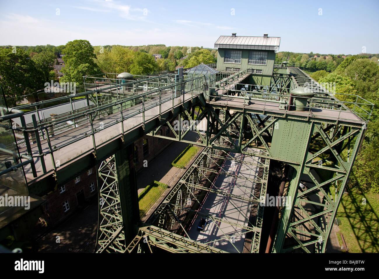 El viejo Henrichenburg Shiplift en la ciudad de Waltrop, La Ruta de la Cultura Industrial , NRW, Renania del Norte-Westfalia, Alemania. Foto de stock