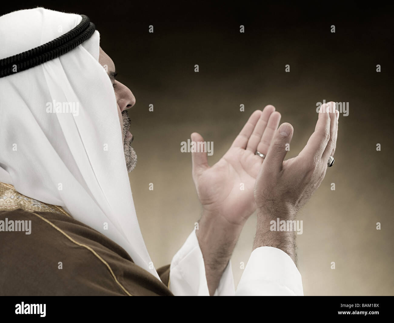 Perfil de un hombre musulmán Imagen De Stock