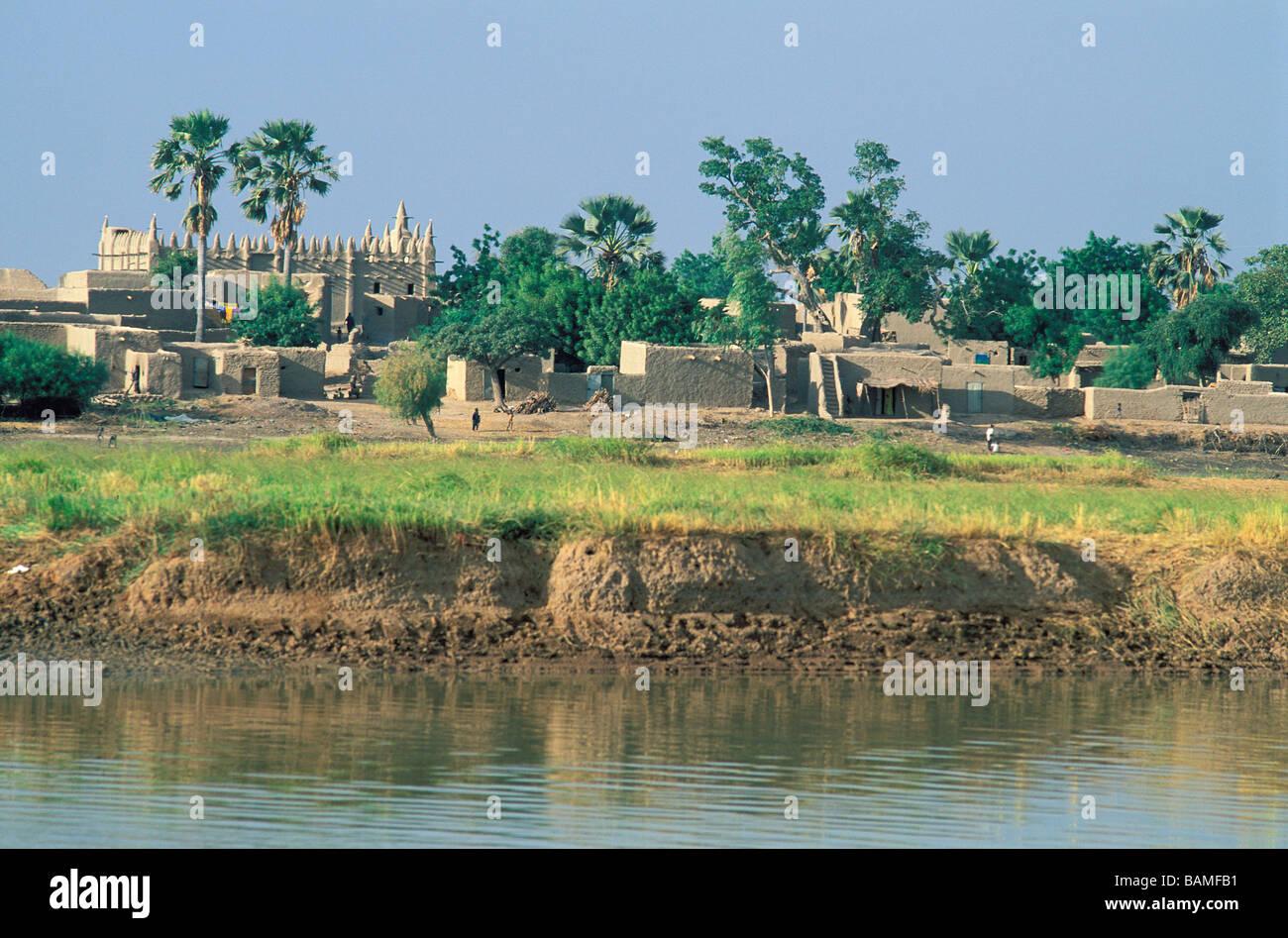 Malí, región de Mopti, los bancos del río Níger, Bozo Village Foto de stock