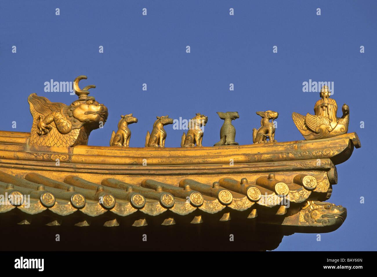 Techo de animales guardianes, criaturas mitológicas custodiando el Golden Hall, Jin Dian Gong, Golden Palace Imagen De Stock