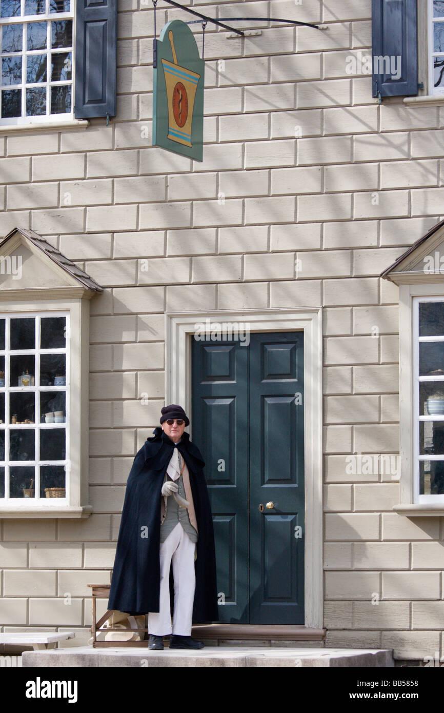 Actor en el período colonial de Williamsburg, Virginia. Imagen De Stock