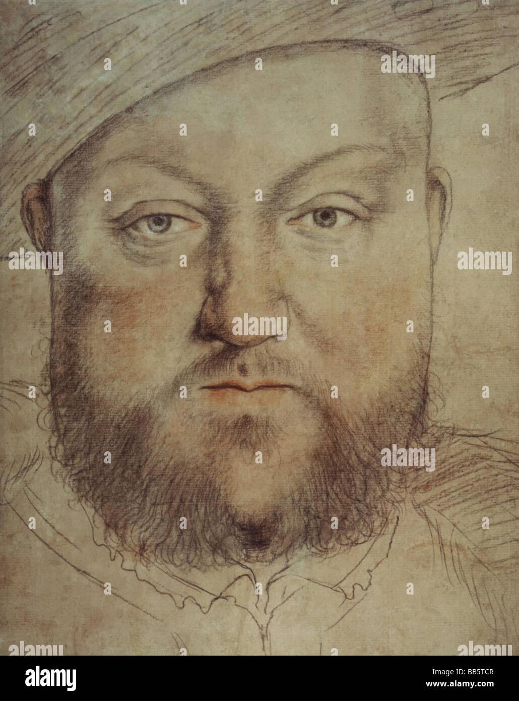 Henry VIII, 28.6.1491 - 28.1.1547, Rey de Inglaterra desde 1509, retrato, pintura de Hans Holbein el joven (1497 - 1543), autor del artista no ha de ser borrado Foto de stock