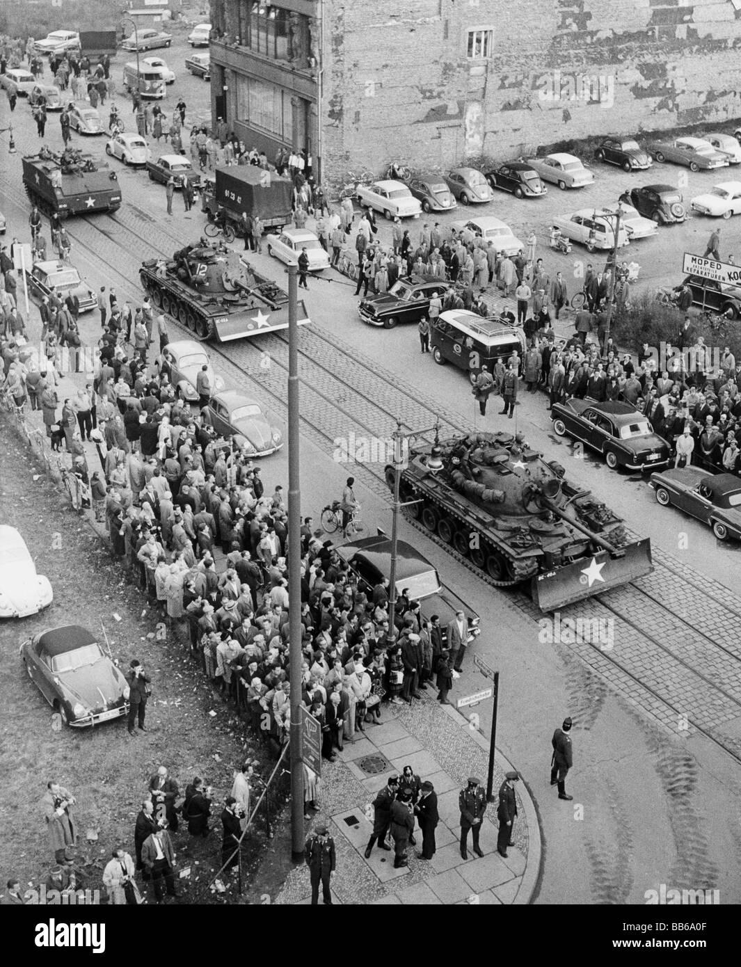 Geografía / viajes, Alemania, Berlín, política, tanques americanos en la Friedrichstrasse, 27.10.1961, Imagen De Stock