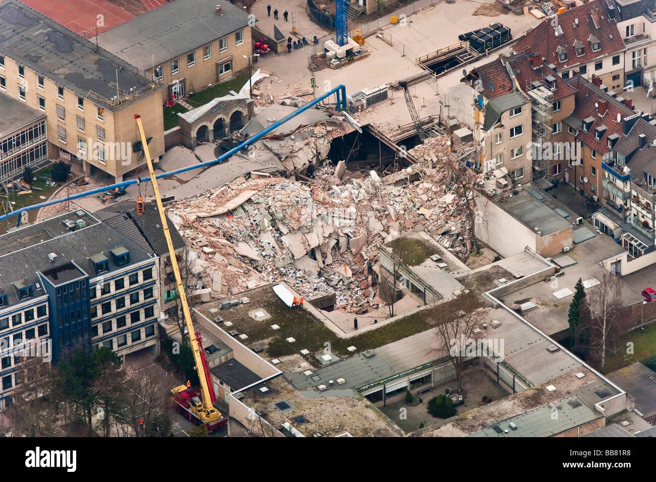 Vista aérea, derrumbe del Archivo Histórico de la ciudad de Colonia, Colonia, Renania del Norte-Westfalia, Imagen De Stock
