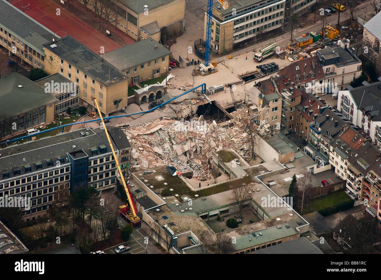 Vista aérea, derrumbe del Archivo Histórico de la ciudad de Colonia, Colonia, Renania del Norte-Westfalia, Alemania, Foto de stock