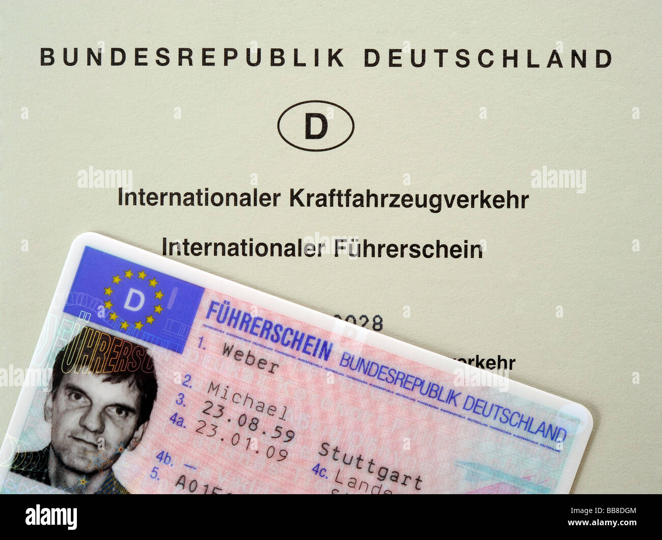 Licencia de conducir internacional y nacional de la República Federal de Alemania Imagen De Stock
