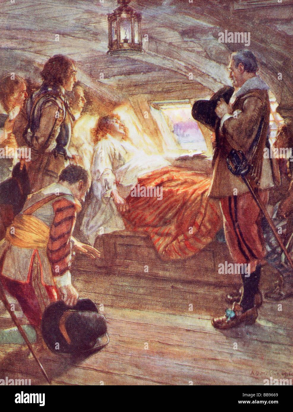 La muerte del Almirante Blake. Después de una pintura de A. D. McCormick . El almirante Robert Blake 1599 al Imagen De Stock