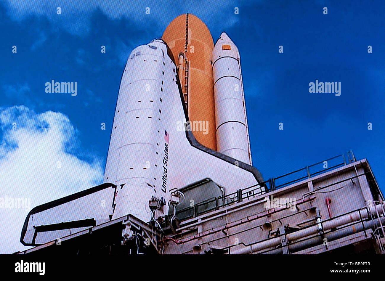 NASA transbordador Atlantis en Launch Pad Imagen De Stock