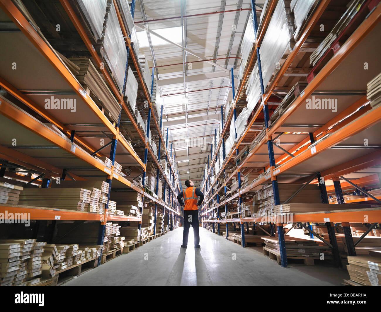 Trabajador la inspección de mercancías en el almacén Imagen De Stock