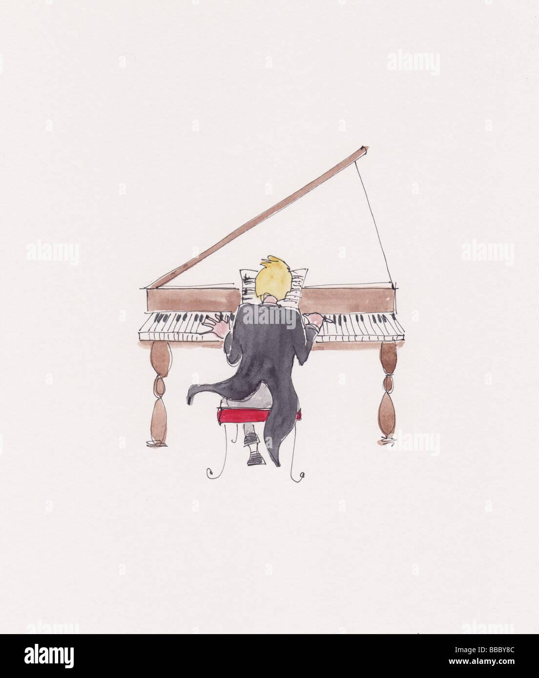 Acuarela ilustración de un hombre tocando un piano de cola Imagen De Stock